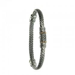 """Sterling Silver & 18K Dragon Weave Eternity 7"""" Bracelet"""