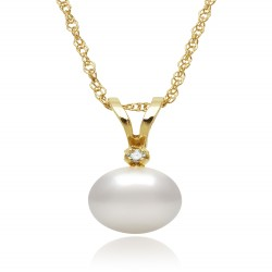 Akoya Pearl and Diamond Pendant