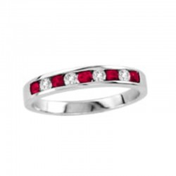 0.26ct ruby 0.22ct dia chnl set band, 14kw, size 6