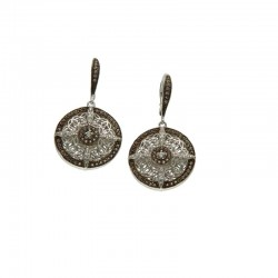 Sterling Silver Rp & Cz Night & Day Round Leverback Earrings
