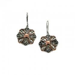 Sterling Silver & 10kt Rose Gold Drop Leverback Earrings
