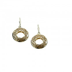 Sterling Silver/22K Gilded Window To The Soul Round Leverback Earrings