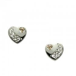 Sterling Silver & 10kt Celtic Heart Post Earrings