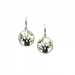 Sterling Silver & 10K Dragonfly In Reeds Leverback Earrings