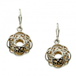 Sterling Silver & 22K Gilded Window To The Soul Scalloped Leverback Earrings