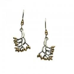 Sterling Silver & 18kt Tree of Life Hook Earrings
