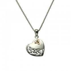 Sterling Silver & 10K Celtic Heart Pendant