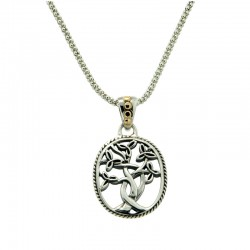 Sterling Silver & 18K Tree Of Life Pendant Small