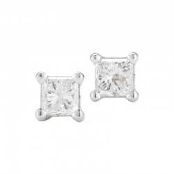 14kw .09ct tw Princess Cut Diamond Stud Earrings J/K I1/I2