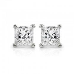 14kw .30cttw Princess Cut Diamond Stud Earrings J/K I1/I2