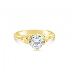 Sholdt 14K White Gold 1Ct Off-Set Crown Ring Engagement Ring