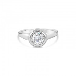 Sholdt 14K White Gold 1Ct Round  Double Bezel Engagement Ring