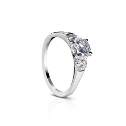 Sholdt 14K White Gold 1Ct Round  2=0.48Tw Engagement Ring