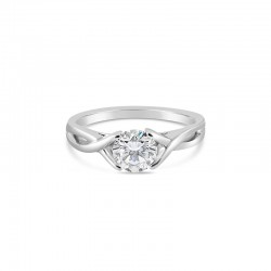 Sholdt 14K White Gold 1Ct Round Criss Cross (High Polish Or Millgrained) Engagement Ring