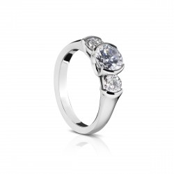 Sholdt 14K White Gold 1Ct Round Version 3-Stone W/ 1/2 Bezels & 2=0.66Tw Dias Engagement Ring