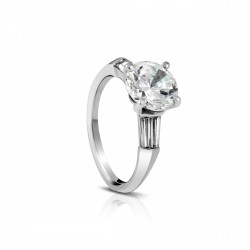 Sholdt 14K White Gold 2Ct Round Center Set In Prongs W/ 4=0.51Tw Baggs Engagement Ring