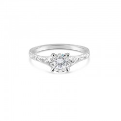 Sholdt 14K White Gold 1 Ct Round Soft Tapered Solitaire Engagement Ring