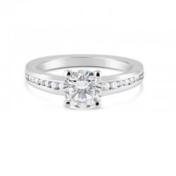 Sholdt 14K White Gold 1Ct Round W/Channel Set & Millgrain Inside. 4X1.5, 6X1, 4X3/4 = 0.15Tw Engagement Ring