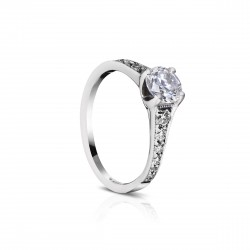 Sholdt 14K White Gold 3/4-1Ct Round  Tapered Pave. 2X8, 2X4, 4X2, 4X1=0.36Cts  Engagement Ring