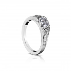 Sholdt 14K White Gold  1Ct Round Spilt Shank All Dia. 8X1/2, 4X3/4, 2X2, 2X3, 2X4, 2X2.5 Accents=1.8Mm. Tw=0.45Cts  Engagement Ring