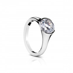 Sholdt 14K White Gold 2Ct Round Version 1/2 Bezel Engagement Ring