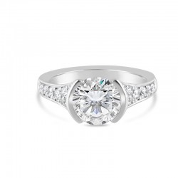 Sholdt 14K White Gold 2Ct Round Version 1/2 Bezel W/Pave Dia Sides. 8X2.5, 8X2, 2X1.5, 2.3.5=0.42Tw Engagement Ring