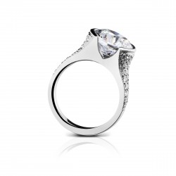 Sholdt 14K White Gold 4Ct Version W/ Pave Dias. 28X2, 10X1.5, 4X3/4, 4X1/2 = 0.76Tw  Engagement Ring