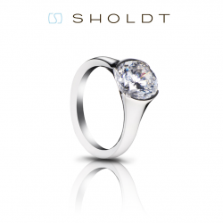 Sholdt 18K White Gold Vashon Half Bezel Engagement Ring Mounting