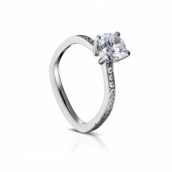 Sholdt 14K White Gold  1Ct Round Euro Shank W/ Pave Dias 22=0.22Tw  Engagement Ring