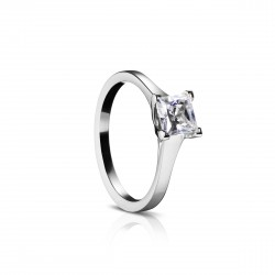 Sholdt 14K White Gold 1Ct Pc  W/ Chevron Prongs Engagement Ring