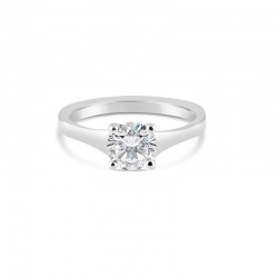 Sholdt 14K White Gold 1Ct Round Tapered Solitaire Engagement Ring