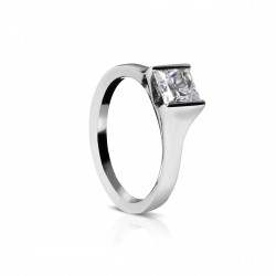 Sholdt 14K White Gold 1Ct Pc 1/2 Bezel Engagement Ring