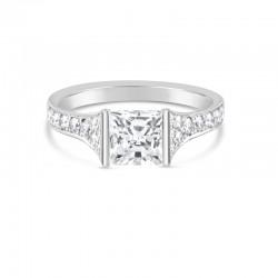 Sholdt 14K White Gold 1Ct Pc 1/2 Bezel & Pave Dias. 12X2, 2X3.5, 2X2.5, 2X1.5, 2X1 = 0.41Tw  Engagement Ring