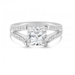 Sholdt 14K White Gold  2Ct Pc Split Shank W/ 36X3/4=0.27Tw Pave Dias Engagement Ring