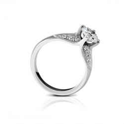 Sholdt 14K White Gold 1Ct Round Kite Set W/ Pave 4X3, 4X2, 4X1 = 0.24Tw  Engagement Ring
