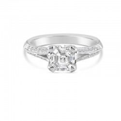 Sholdt 14K White Gold  1Ct Asscher Split Shank W/ Pave Dias On Head + Shank. 40X1/2=0.20Tw Engagement Ring