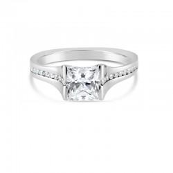 Sholdt 14K White Gold 1Ct Pc 1/2 Bezel W/ Channel Set Dias  24X3/4=0.18Tw Engagement Ring