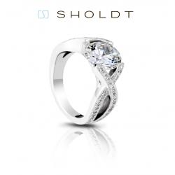 Sholdt Twisp 14K White Gold Criss Cross Engagement Ring Mounting