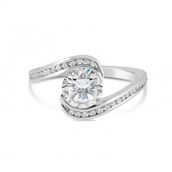 Sholdt 14K White Gold  1Ct Round 1/2Bezel Bypass W/ Channel Set Dias. 34=0.25Tw Engagement Ring