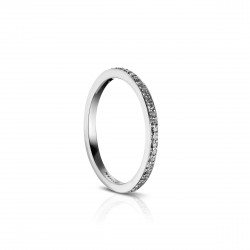 Sholdt 14K White Gold Matching Band To R472-1D, R471-1D, Bead Set, Bright Edge, 1/2 Way, 27X1/2=0.14Tw