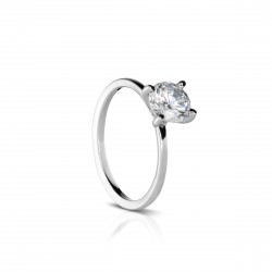 Sholdt 14K White Gold 1Ct Round. Ultra Thin Shank  Engagement Ring