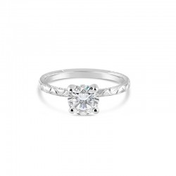 Sholdt 14K White Gold 1Ct Round With Fern Finish Engagement Ring
