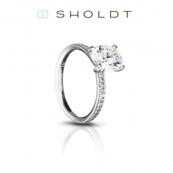 Sholdt 18K White Gold Fremont Four Prong Engagement Ring Mounting.