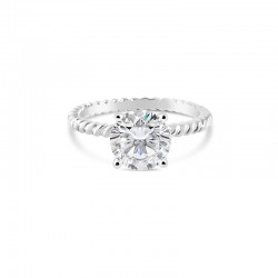 Sholdt 14K White Gold 1Ct Round With Rope Pattern Engagement Ring