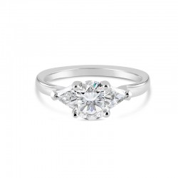 Sholdt 14K White Gold 1Ct Round 3-Stone W/ 2X4.5Mm =0.30Tw Trillions Engagement Ring