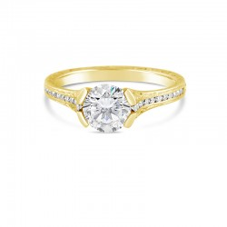 Sholdt 14K White Gold 1Ct Round  1/2 Bezel W/ 22X3/4=0.17Tw Channel Set Dias Engagement Ring