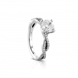 Sholdt 14K White Gold 1Ct Round Criss-Cross Diamond Ring With 36X1/2=0.18Tw  Engagement Ring