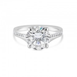 Sholdt 14K White Gold 3Ct Round, W/ 24X3/4=0.18Tw Channel Set Dias Engagement Ring