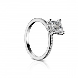 Sholdt 14K White Gold 1Ct Pc W/ 22=0.22Tw Channel Set Dias Engagement Ring