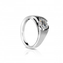Sholdt 14K White Gold 1Ct Round Split 1/2 Bezel Style. Looks Like Horizontal Oval Engagement Ring